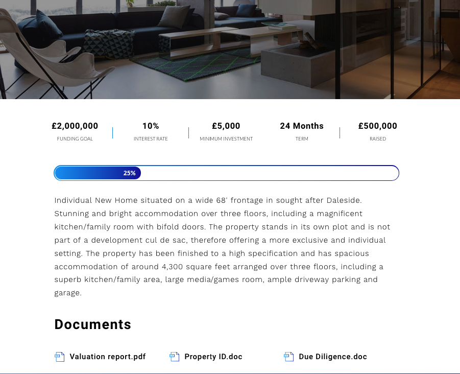 white label crowdfunding platform property details