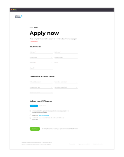 The Intern Group – Application page