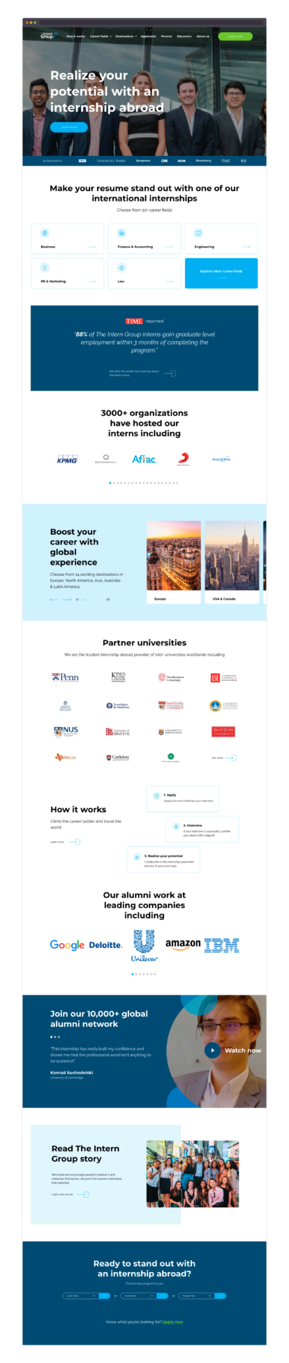 The Intern Group – homepage design