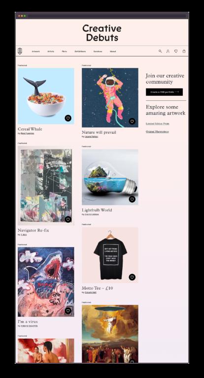 Creative Debuts homepage screenshot