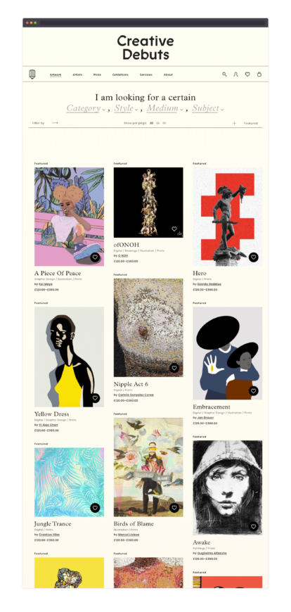 Creative Debuts product listing screenshot