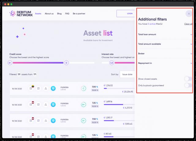 debitum network crowdfunding platform design filters