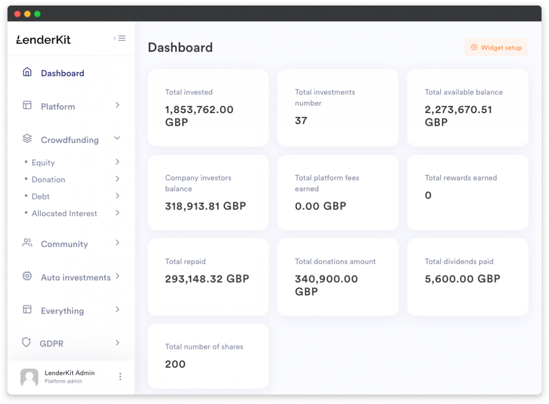 LenderKit dashboard